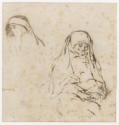 Oude vrouw en hoofd van een man
