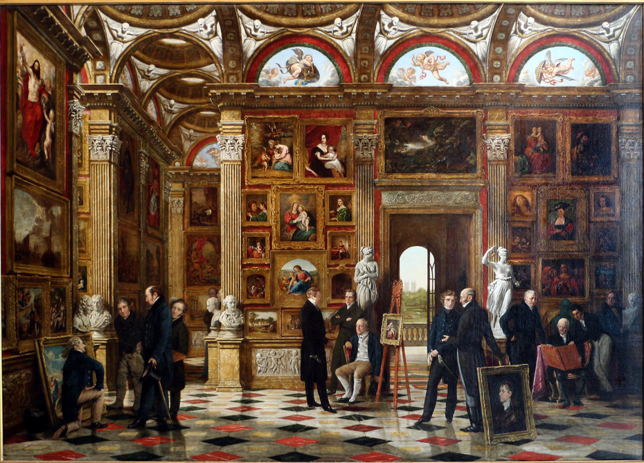 Patrons and Lovers of Art', painting of an art gallery