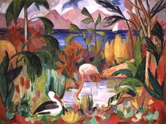 Paysage coloré aux oiseaux aquatiques
