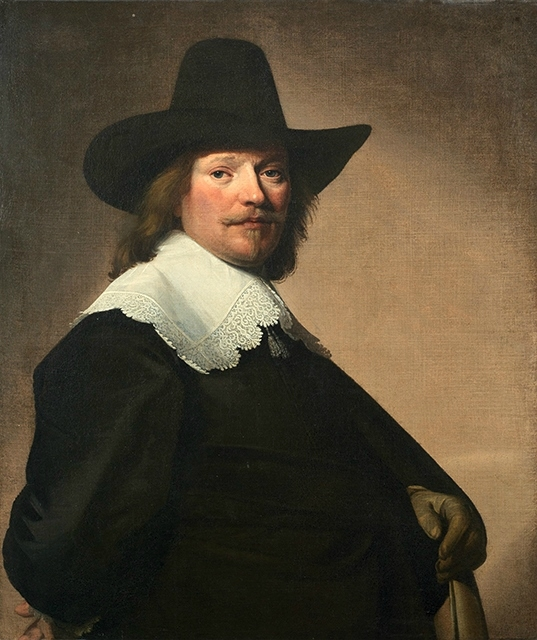 Portrait of a gentleman, three-quarter-length, in black costume with a white lace collar and a black hat