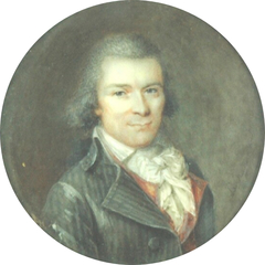 Portrait of a man in a grey-striped frock coat and a red waistcoat