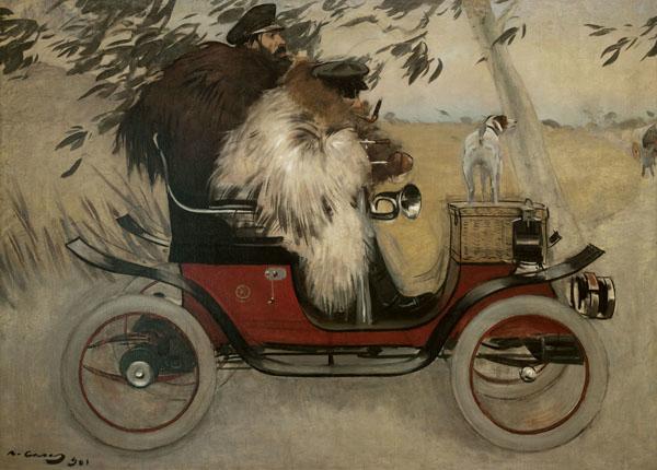Ramon Casas and Pere Romeu in an Automobile