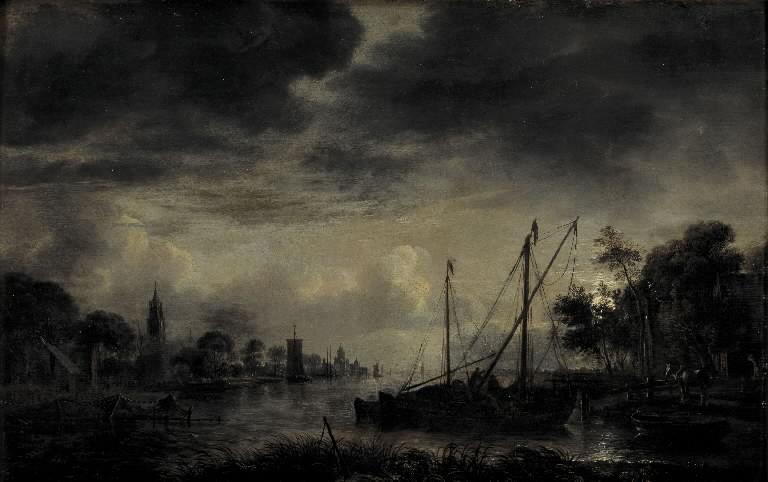 River Landscape in Moonlight