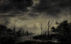 River Landscape in Moonlight