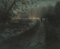 route de nuit, hiver / road at night, winter