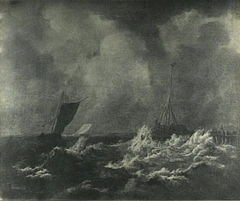 Sailing ships in stormy seas