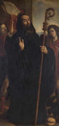 San Benito Abad con dos ángeles
