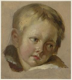 Schets van een kinderkopje met lichtblond haar