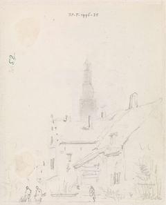 Schets van een stadsgezicht (Haarlem?)