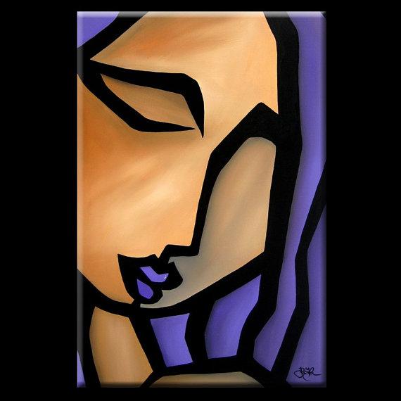 Siren - Original Abstract painting Modern pop Art Contemporary Portrait FACE by Fidostudio