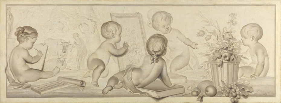 Six Putti with Flowers and Fruit and Attributes of the Art of Drawing