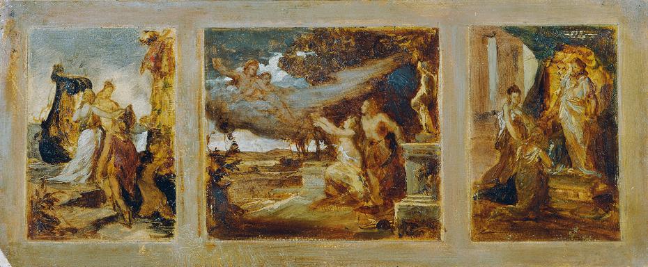 Skizze für ein Triptychon mit mythologischen Szenen