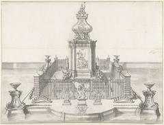 Stellage voor het vuurwerk bij de viering van de Vrede van Utrecht, 1713