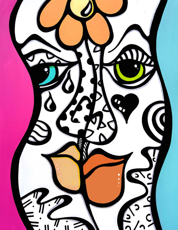 Stereo Love - Original Abstract painting Modern pop Art Contemporary Faces by Fidostudio