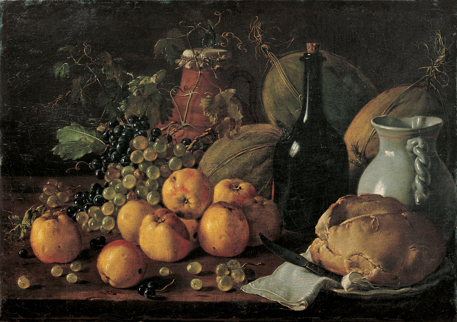 Still Life with Apples, Grapes, Melons, Bread, Jug and Bottle