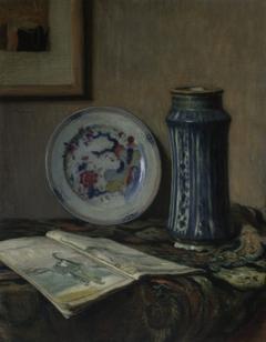 Still life with ceramics (Still life with a blue vase)