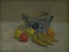Still Life with Grey Jar, Apples and Bananas
