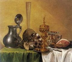 Still Life with Ham, Covered Beaker, Tazza, Rummer and Jug on a Table