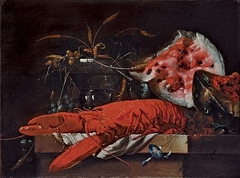 Still life with lobster and water melon