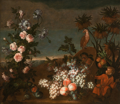 Still Life with Monkey, Flowers and Fruit