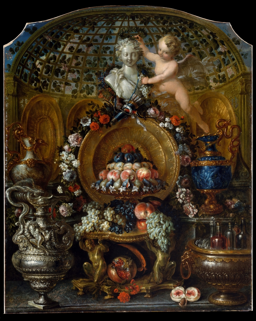 Still Life with Silver and Gold Vessels, Fruit, and Flowers