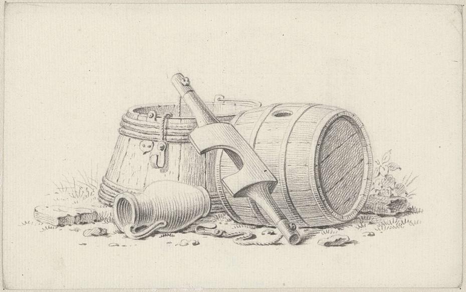 Stilleven met vaten, een juk en een kruik
