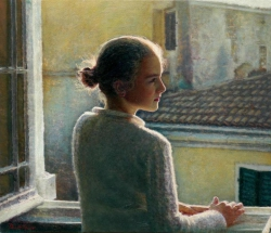 """""""Στο παράθυρο"""" / """"At the window"""", 60 X 80 cm, oil on canvas."""