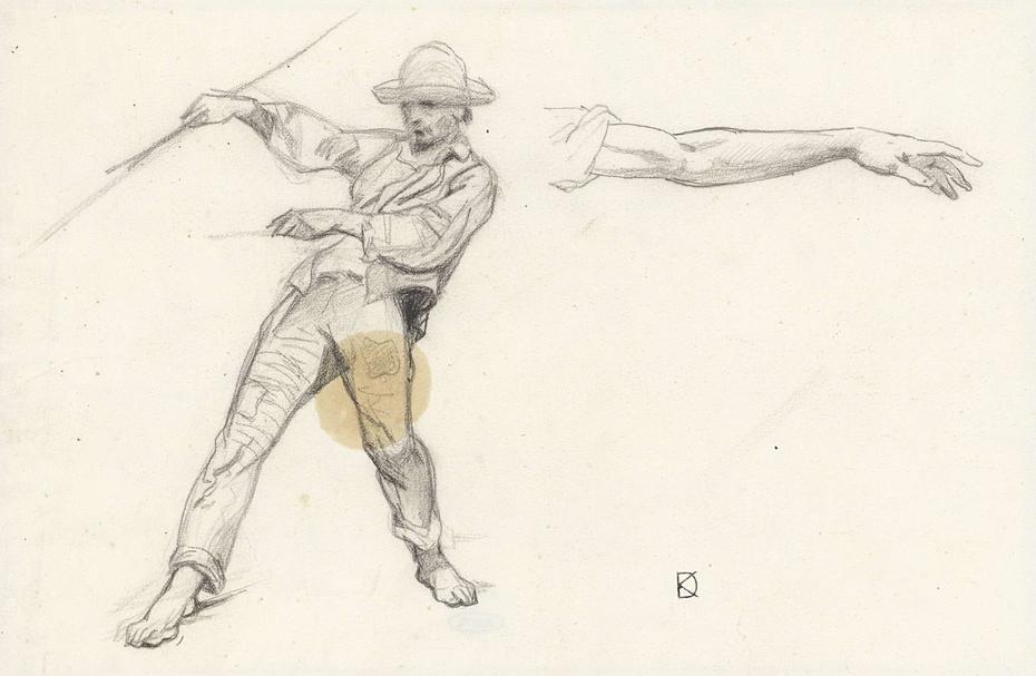 Studie van een staande man en een arm