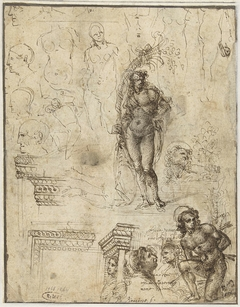 Study Sheet with Heads, Figures and Architectural Fragments