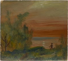 Sunset with Man Standing on Shore