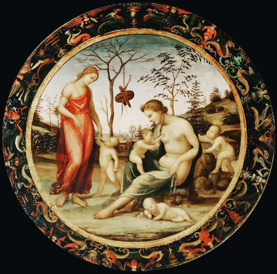 Terrestrial Venus with Eros and Celestial Venus with Anteros and Two Cupids