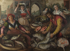 The Four Elements: Water. A Fish Market with the Miraculous Draught of Fishes in the Background