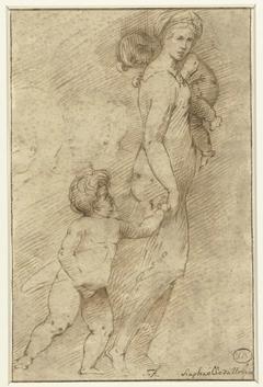 Twee hoofden van mannen naast een vrouw met kinderen