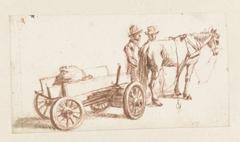 Twee mannen bij paard en wagen