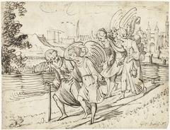 Uittocht van Lot en zijn dochters met de engelen