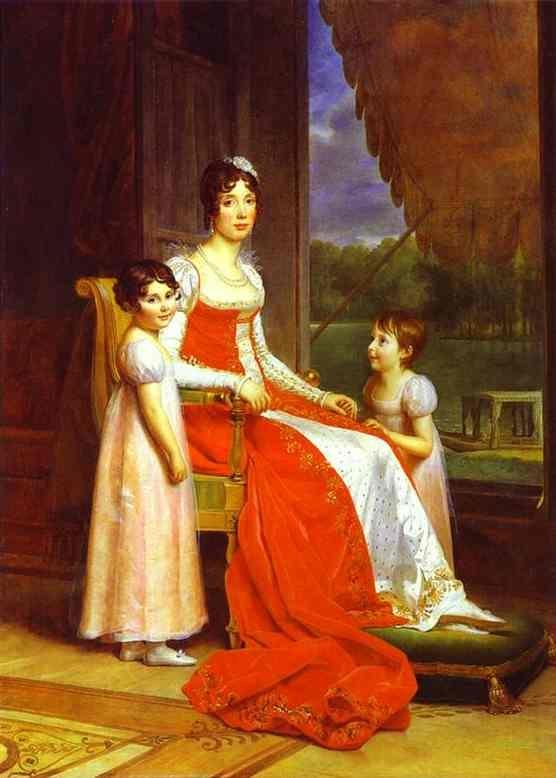 Marie-Julie Bonaparte, Infante d'Espagne, en compagnie de ses deux filles Charlotte et Zénaide Bonaparte