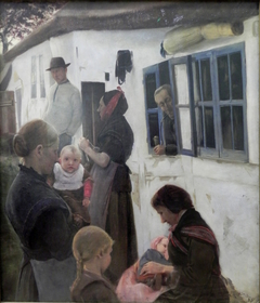 People in Front of a House
