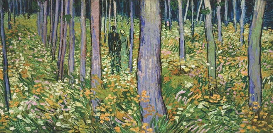 Undergrowth with walking Couple