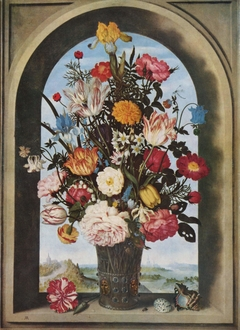 Vase of Flowers in a Window Niche