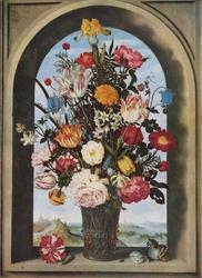Vase of Flowers in a Window Niche
