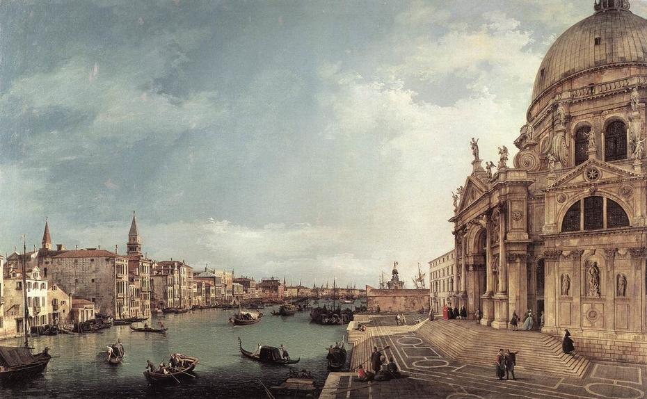 Venice: The Grand Canal with Santa Maria della Salute, towards the Bacino