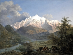View of the Mont-Blanc from Sallanches at dusk