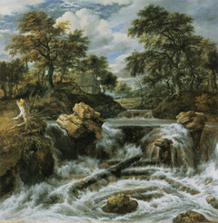 Wooded landscape with a water fall