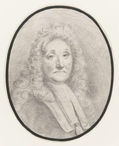 Zelfportret van Ludolf Bakhuysen, borstbeeld naar rechts, aanziend