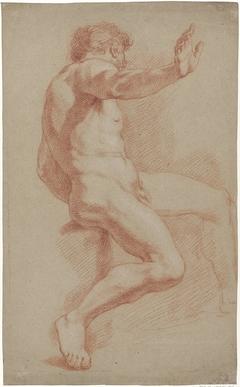 Zittend mannelijk naakt, profiel naar rechts