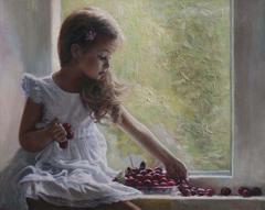 «Τα πρώτα κεράσια» ,40 x50 cm, oil on canvas.