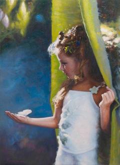 «Μια πεταλούδα στο χέρι μου», 50 x 70 cm, oil on canvas.