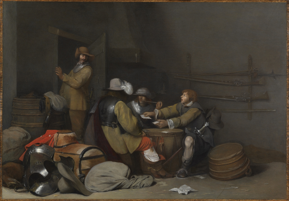 A Guardroom Interior with Soldiers Smoking and Playing Cards