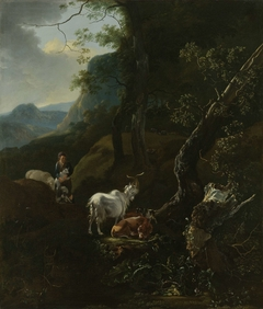 A Sherpherdess with Animals in a Mountainous Landscape