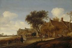 A village inn with stagecoach